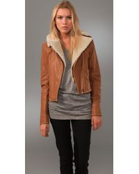 Adam Lippes | Brown Aviator Jacket with Shearling Collar | Lyst