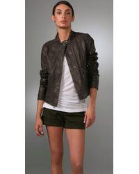 VINCE | Gray Leather Biker Jacket | Lyst
