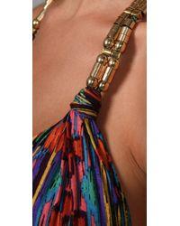 T-bags - Multicolor Deep V Maxi Dress - Lyst