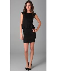 Alice + Olivia | Black Victoria Knit Peplum Dress | Lyst
