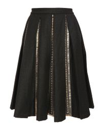 Dries Van Noten | Gray Skirt with Embroidered Pleats | Lyst