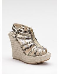 Jimmy Choo | Natural Palermo Snake-printed Metallic Espadrille Sandals | Lyst