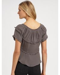 Joie - Gray Brielle Ruffled Silk Blouse - Lyst