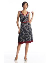 Oscar de la Renta | Blue Sleeveless Threadwork Dress | Lyst