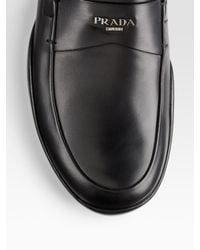 Prada | Black Logo Moccasins for Men | Lyst