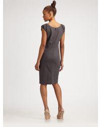 Rebecca Taylor | Gray Cap-sleeve Sheath Dress | Lyst