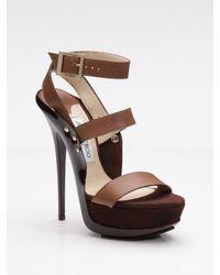 Jimmy Choo | Brown Halley Platform Sandals | Lyst