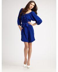 Rebecca Taylor | Blue Ruffled Silk Dress | Lyst