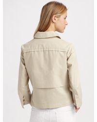 Tory Burch | Green Regina Leather-trimmed Canvas Jacket | Lyst