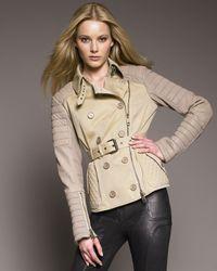 Burberry Prorsum   Natural Leather-sleeve Biker Jacket   Lyst