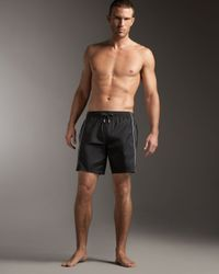 Dolce & Gabbana | Black Square-cut Swim Trunks for Men | Lyst