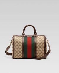 Gucci | Brown Vintage Web Medium Boston Bag | Lyst