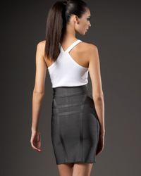 Hervé Léger - Gray Front-zip Pencil Skirt - Lyst