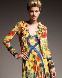 Jean Paul Gaultier | Yellow Flower-print Short Cardigan | Lyst