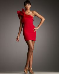 Notte by Marchesa | Red Asymmetric Silk-crepe Dress | Lyst