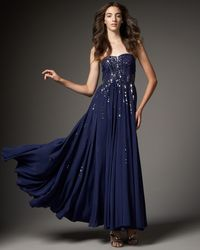 Rebecca Taylor - Blue Red Carpet Silk Sequined Gown - Lyst