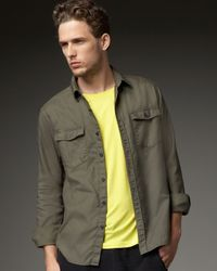 Theory - Green Two-pocket Woven Shirt, Fatigue for Men - Lyst