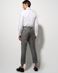 Thom Browne - Gray Cuffed Super 120 Trousers for Men - Lyst