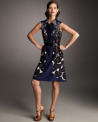 Saint Laurent | Blue Prairie Silk Silhouette Dress | Lyst