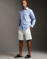 Zegna Sport - Linen Drawstring Shorts, White for Men - Lyst