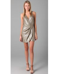 Parker | Metallic Baby Sequin Wrap Dress | Lyst