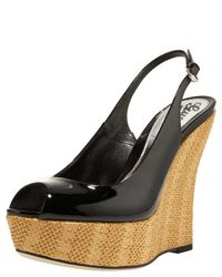 Gucci | Black Sofia Patent Leather Straw Wedges | Lyst