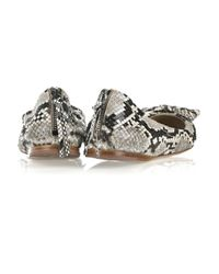 Miu Miu | Gray Bow-embellished Python Ballerina Flats | Lyst