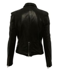 Muubaa - Black Lambs Leather Cion Fitted Biker Jacket - Lyst