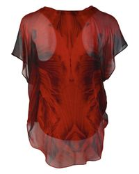 Alexander McQueen   Red Poppy Print Silk Top   Lyst