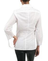 Ann Demeulemeester Blanche - White Drawstring Cuff Word Shirt - Lyst