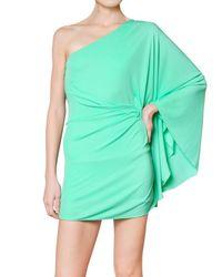 DSquared² - Green One Shoulder Viscose Crepe Jersey Dress - Lyst