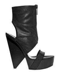 Gareth Pugh | Black 160mm Lambskin Open Toe Front Zip Boots | Lyst
