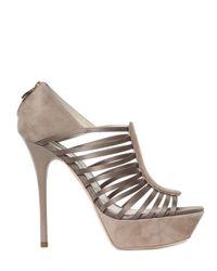 Grey Mer | Natural 130mm Silk Satin Suede Sandals | Lyst