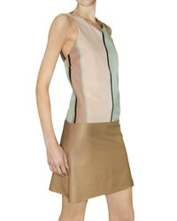 Jo No Fui - Multicolor Leather and Striped Faille Dress - Lyst