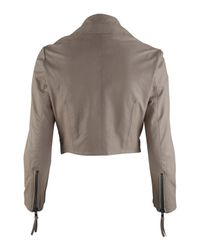 Muubaa - Light Pink Cropped Leather Jacket - Lyst