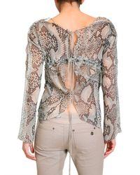 Roberto Cavalli | Gray Python Print Georgette Shirt | Lyst
