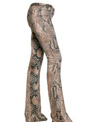 Roberto Cavalli | Natural Python Print Satin Trousers | Lyst