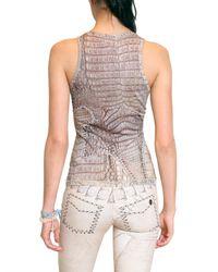 Roberto Cavalli | Pink Croc Print Silk Knit Tank Top | Lyst