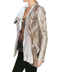 Trosman - Gray Printed Leather Leather Jacket - Lyst