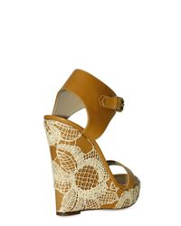Valentino - Natural 125mm Raffia Nappa Ankle Wedges - Lyst