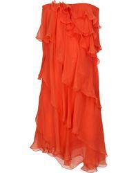 Halston   Orange Ruffle-tier Silk-chiffon Dress   Lyst