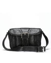 Lulu Guinness | Black Sparkle Mini Satchel | Lyst