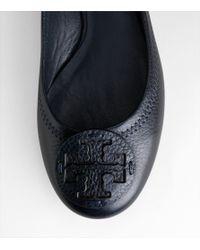 Tory Burch - Blue Reva Tumbled-leather Flat, Tory Navy - Lyst