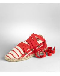 Tory Burch - Red Striped Lace Up Espadrille - Lyst