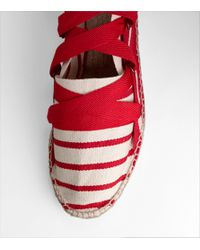 Tory Burch | Red Striped Lace Up Espadrille | Lyst