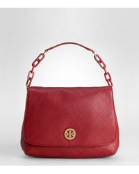 Tory Burch | Red Washed Leather Bijou Hobo | Lyst