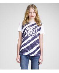 Tory Burch | Purple Diagonal Logo Tee | Lyst