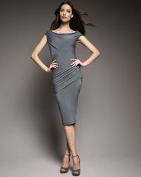 Donna Karan | Blue Draped Jersey Dress | Lyst