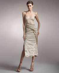 Donna Karan | White Crushed Metallic Twill Skirt | Lyst