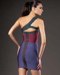 Hervé Léger - Purple One-shoulder Bandage Dress - Lyst